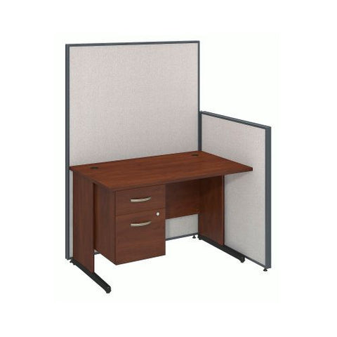 Bush Business Furniture 48W C-Leg Desk with 3/4 Pedestal in Hansen Cherry and Light Grey ProPanels ; UPC:042976046620