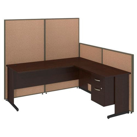 Bush Business Furniture 72W C-Leg L-Desk with 3/4 Pedestal in Mocha Cherry and Harvest Tan ProPanels ; UPC:042976046637