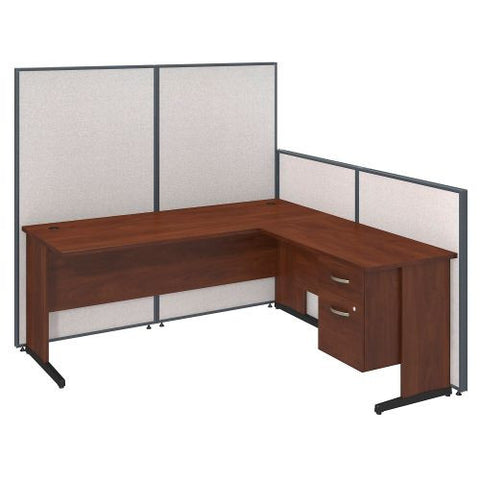 Bush Business Furniture 72W C-Leg L-Desk with 3/4 Pedestal in Hansen Cherry and Light Grey ProPanels ; UPC:042976046644