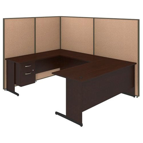 Bush Business Furniture 72W C-Leg U-Station with 3/4 Pedestal in Mocha Cherry and Harvest Tan ProPanels ; UPC:042976046651