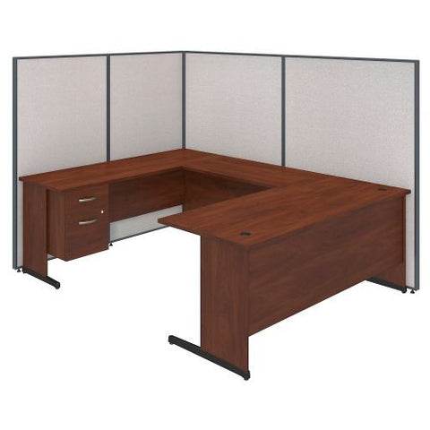 Bush Business Furniture 72W C-Leg U-Station with 3/4 Pedestal in Hansen Cherry and Light Grey ProPanels ; UPC:042976046668