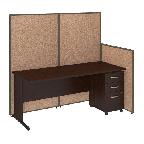 Bush ProPanel 72W C-Leg Desk with Panels and 3 Drawer Mobile Pedestal, Harvest Tan PPC022HT ; UPC: 042976046675 ; Image 1
