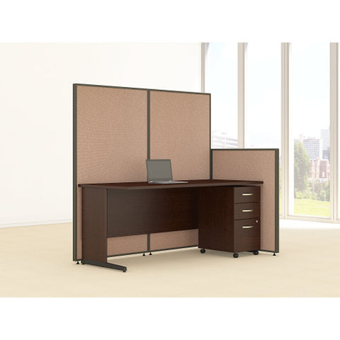 Bush ProPanel 72W C-Leg Desk with Panels and 3 Drawer Mobile Pedestal, Harvest Tan PPC022HT ; UPC: 042976046675 ; Image 2