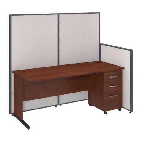 Bush ProPanel 72W C-Leg Desk with Panels and 3 Drawer Mobile Pedestal, Light Grey PPC022LG ; UPC: 042976046682 ; Image 1