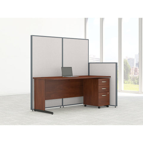 Bush ProPanel 72W C-Leg Desk with Panels and 3 Drawer Mobile Pedestal, Light Grey PPC022LG ; UPC: 042976046682 ; Image 2