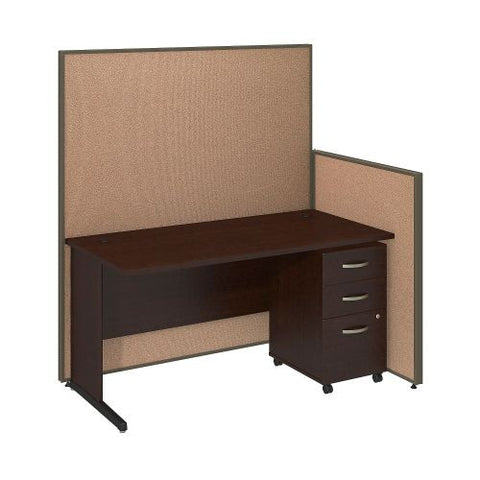 Bush Business Furniture 60W C-Leg Desk with 3 Drawer Mobile Pedestal in Mocha Cherry and Harvest Tan ProPanels ; UPC:042976046699