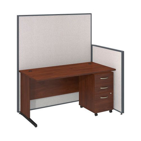 Bush Business Furniture 60W C-Leg Desk with 3 Drawer Mobile Pedestal in Hansen Cherry and Light Grey ProPanels ; UPC:042976046705