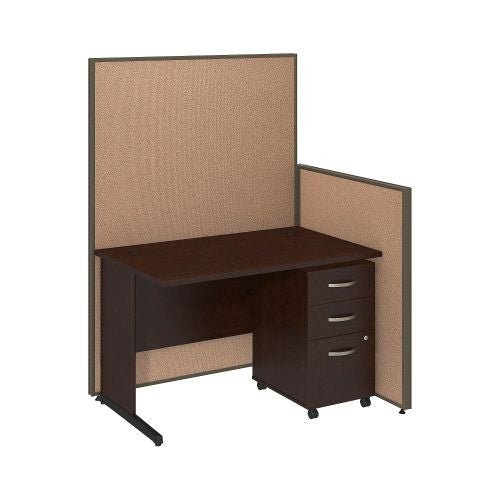 Bush Business Furniture 48W C-Leg Desk with 3 Drawer Mobile Pedestal in Mocha Cherry and Harvest Tan ProPanels ; UPC:042976046712