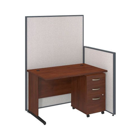 Bush Business Furniture 48W C-Leg Desk with 3 Drawer Mobile Pedestal in Hansen Cherry and Light Grey ProPanels ; UPC:042976046729