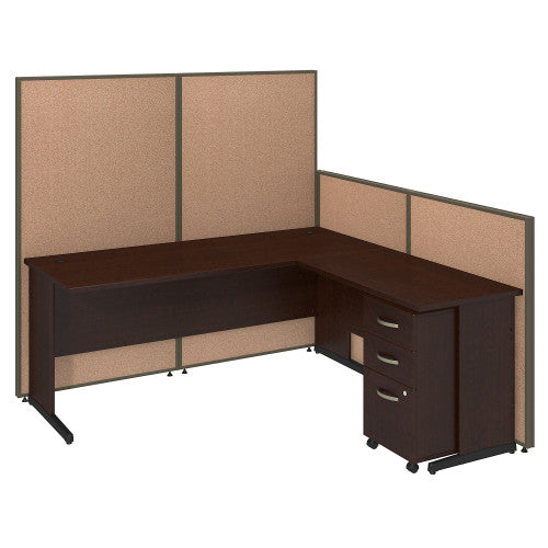Bush ProPanel 72W C-Leg L-Desk with Panels and 3 Drawer Mobile Ped, Harvest Tan PPC025HT ; UPC: 042976046736 ; Image 1