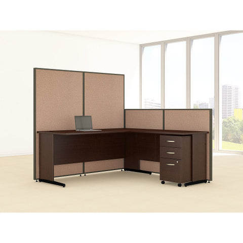 Bush ProPanel 72W C-Leg L-Desk with Panels and 3 Drawer Mobile Ped, Harvest Tan PPC025HT ; UPC: 042976046736 ; Image 2