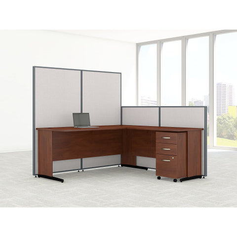 Bush ProPanel 72W C-Leg L-Desk with Panels and 3 Drawer Mobile Ped, Light Grey PPC025LG ; UPC: 042976046743 ; Image 2