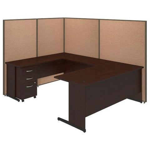 Bush Business Furniture 72W C-Leg U-Station with 3 Drawer Mobile Pedestal in Mocha Cherry and Harvest Tan ProPanel ; UPC:042976046750