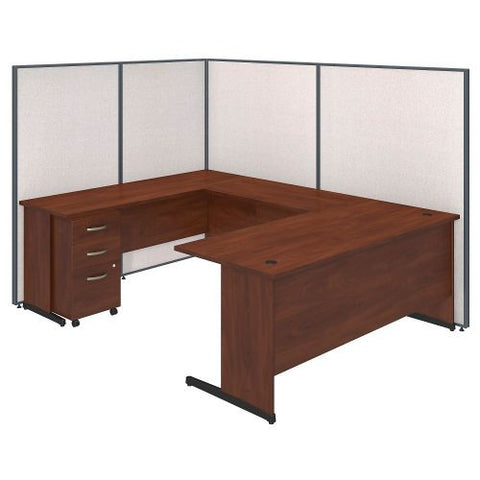 Bush Business Furniture 72W C-Leg U-Station with 3 Drawer Mobile Pedestal in Hansen Cherry and Light Grey ProPanels ; UPC:042976046767