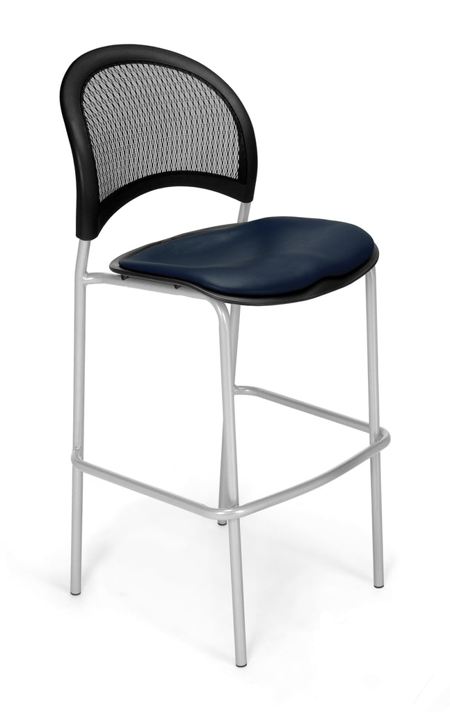 OFM 338S-VAM-605 Moon Cafe Height Vinyl Silver Chair, Navy ; UPC: 845123021712 ; Image 1