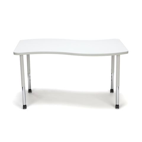 OFM Adapt Series Large Wave Standard Table - 25-33? Height Adjustable Desk with Casters, White (WAVE-L-LLC) ; UPC: 845123096178 ; Image 2