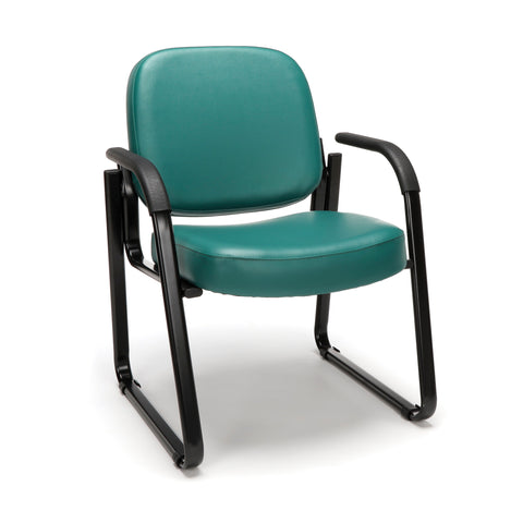 OFM Model 403-VAM Guest and Reception Chair with Arms, Anti-Microbial/Anti-Bacterial Vinyl, Teal ; UPC: 811588014170 ; Image 1