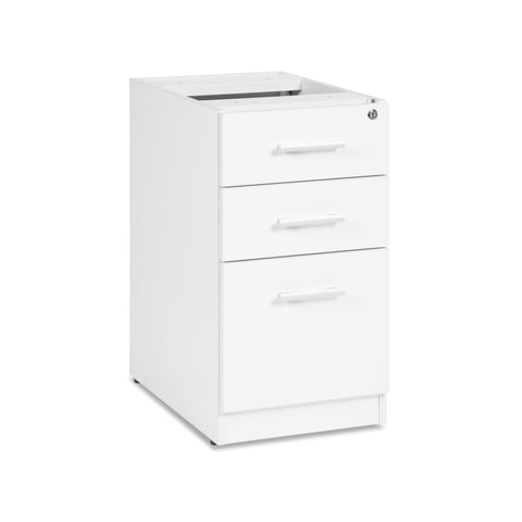 OFM Fulcrum Series Locking Pedestal, 3-Drawer Filing Cabinet, White (CL-BBF-WHT) ; UPC: 845123097434 ; Image 1