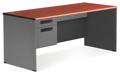 OFM Executive Series Model 77366 3-Drawer Single Pedestal Desk with Panel End, Cherry ; UPC: 845123009796 ; Image 1