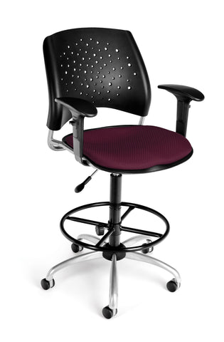 OFM Stars Series Model 326-AA3-DK Fabric Swivel Task Chair with Arms and Drafting Kit, Burgundy ; UPC: 845123013311 ; Image 1