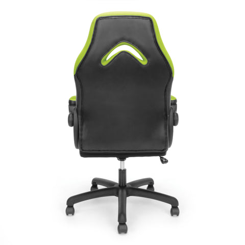 OFM Essentials Collection Racing Style Bonded Leather Gaming Chair, in Green (ESS-3085-GRN) ; UPC: 845123089293 ; Image 3