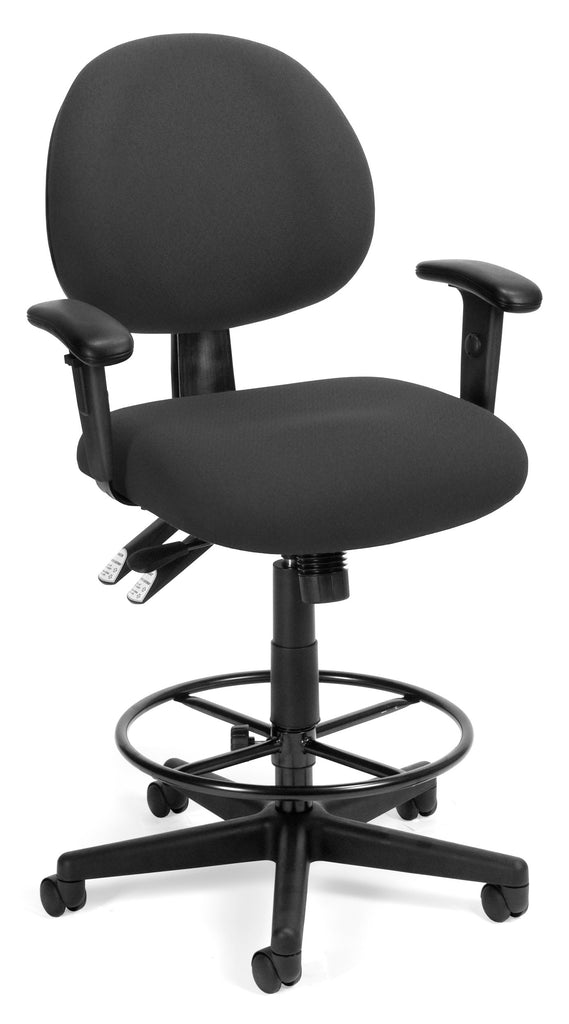 OFM 241-AA-DK 24 Hour Ergonomic Upholstered Task Chair with Arms and Drafting Kit, Charcoal ; UPC: 845123012444 ; Image 1