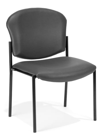 OFM 408-VAM-604 Armless Stack Vinyl Chair, Charcoal ; UPC: 811588013203 ; Image 1