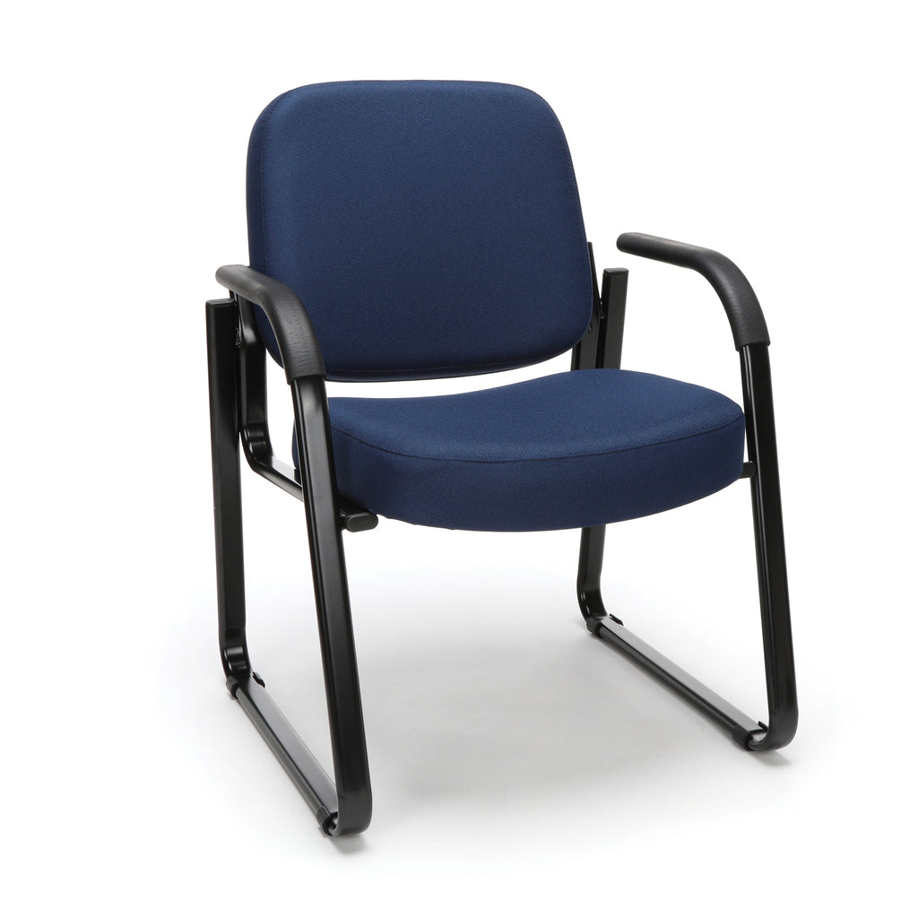 OFM Model 403 Fabric Guest and Reception Chair with Arms and Extra Thick Cushion, Navy ; UPC: 811588014149 ; Image 1
