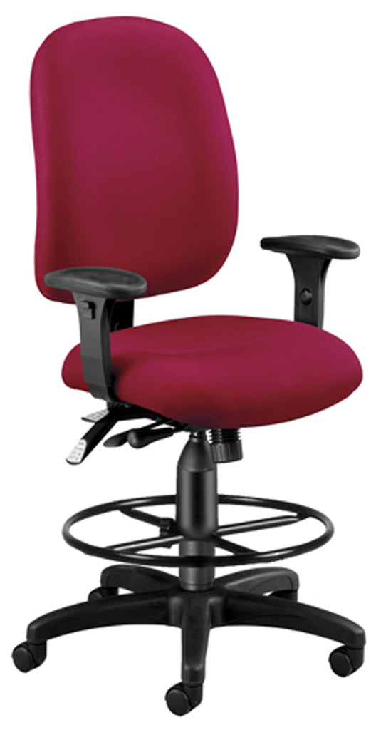OFM Model 125-DK Ergonomic Task Chair with Arms and Drafting Kit, Fabric, Mid Back, Wine ; UPC: 845123025741 ; Image 1