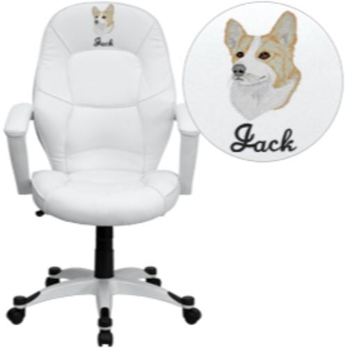 Embroidered Mid-Back White Leather Executive Swivel Office Chair; (UPC: 847254063852); White