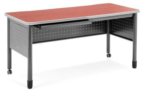 "OFM Mesa Series Model 66150 Steel Training Table and Desk with Pencil Drawers, 27.75"" x 59"", Cherry ; UPC: 811588012060 ; Image 1"