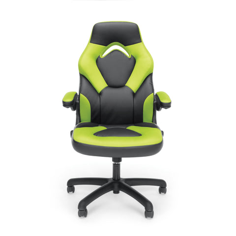 OFM Essentials Collection Racing Style Bonded Leather Gaming Chair, in Green (ESS-3085-GRN) ; UPC: 845123089293 ; Image 2