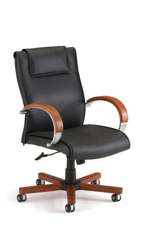 OFM Apex Series Model 561-L Leather Mid-Back Executive Office Chair, Black with Cherry ; UPC: 845123004005 ; Image 1
