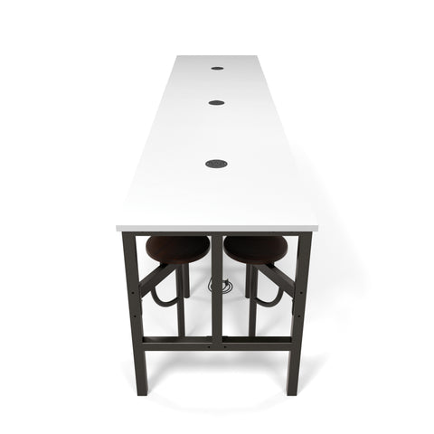 OFM Endure Series Model 9012 Standing Height 12 Seat Table, White Dry-Erase Top with Walnut Seats ; UPC: 845123054291 ; Image 1