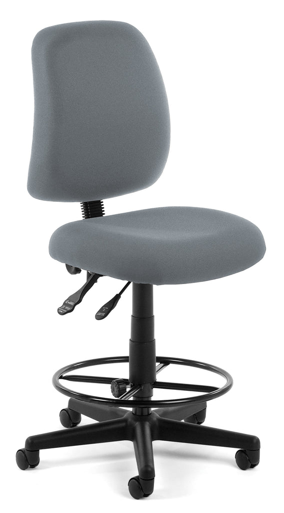 OFM Posture Series Model 118-2-DK Armless Swivel Task Chair with Drafting Kit, Fabric, Mid-Back, Gray ; UPC: 845123011287 ; Image 1