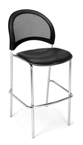 OFM 338C-VAM-606 Moon Cafe Height Vinyl Chrome Chair, Black ; UPC: 845123021668 ; Image 1