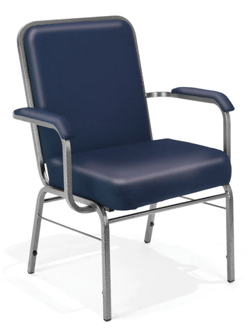 OFM Comfort Class Series Model 300-XL-VAM Big & Tall Anti-Microbial/Anti-Bacterial Vinyl Stacking Arm Chair, Navy ; UPC: 845123004074 ; Image 1