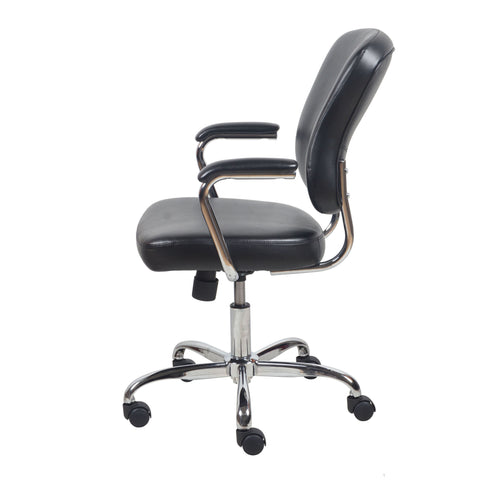 Essentials by OFM ESS-6080 Swivel Mid Back Bonded Leather Task Chair with Chrome Base, Black ; UPC: 089191014348 ; Image 5