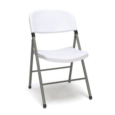 Essentials by OFM ESS-5000 Plastic Folding Chair, White, Pack of 4 ; UPC: 845123095317 ; Image 1