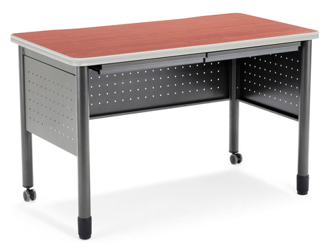"OFM Mesa Series Model 66120 Steel Training Table and Desk with Pencil Drawers, 27.75"" x 47.25"", Cherry ; UPC: 811588012046 ; Image 1"