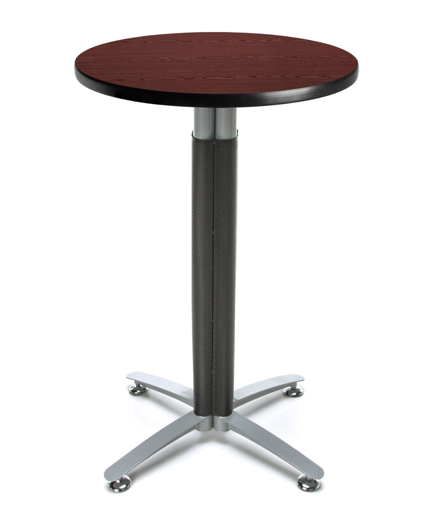 "OFM Model CMT24RD 24"" Round Metal Mesh Base Cafe Table, Mahogany ; UPC: 845123053188 ; Image 1"