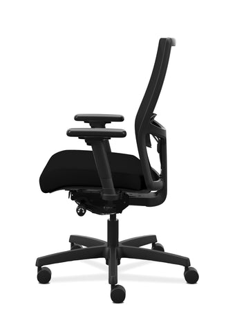 HON Ignition 2.0 Mid-Back Adjustable Lumbar Work Chair - Black Mesh Computer Chair for Office Desk, Black Fabric (HONI2M2AMLC10TK) ; UPC: 888206730743 ; Image 5