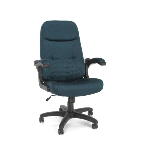 "OFM 550-304 Mobile Arm Fabric Executive Chair, High-Back Conference Chair, 48.5"" Height, 28.75"" Wide, 30.5"" Length, Navy ; UPC: 845123031551 ; Image 1"