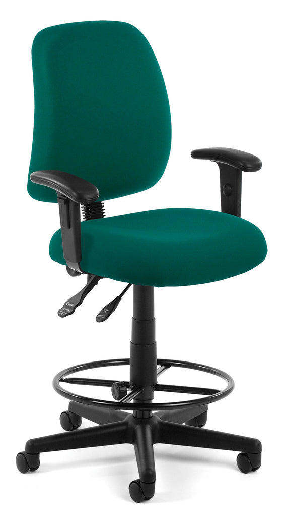 OFM Core Collection Model 118-2-AA-DK Posture Series Fabric Swivel Task Chair in Teal with Arms and Drafting Kit ; UPC: 845123011225 ; Image 1