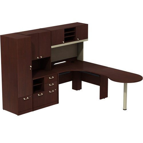 Bush Business Furniture Quantum Harvest Cherry Right Hand Peninsula L-Station w Hutch, QUA008CSR ; Image 1