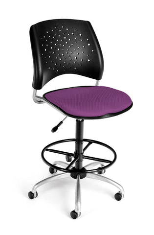 OFM Stars Series Model 326-DK Armless Fabric Swivel Task Chair and Drafting Kit, Plum ; UPC: 845123013496 ; Image 1