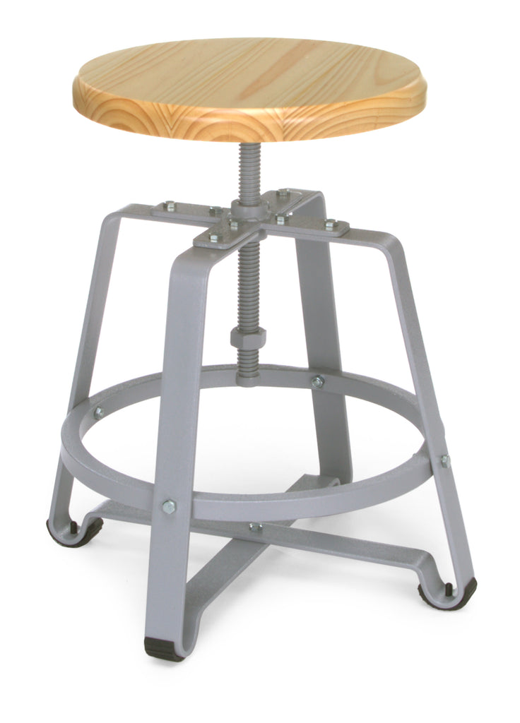 OFM 921-MPL Metal Stool Chair with Maple Seat and Gray Legs ; UPC: 845123034415 ; Image 1