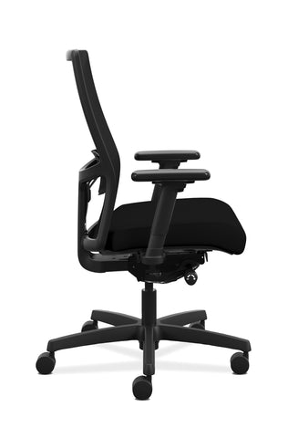 HON Ignition 2.0 Mid-Back Adjustable Lumbar Work Chair - Black Mesh Computer Chair for Office Desk, Black Fabric (HONI2M2AMLC10TK) ; UPC: 888206730743 ; Image 4