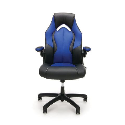 OFM Essentials Collection High-Back Racing Style Bonded Leather Gaming Chair, in Blue (ESS-3086-BLU) ; UPC: 845123090633 ; Image 2