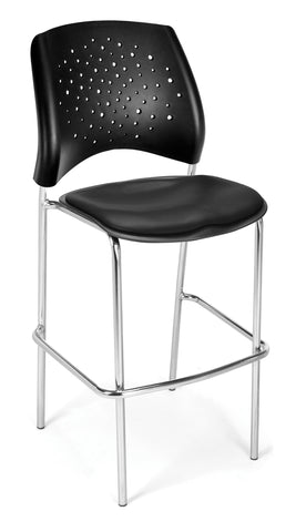 OFM 328C-VAM-606 Stars Cafe Height Vinyl Chrome Chair, Black ; UPC: 845123012987 ; Image 1